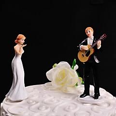 billige Kakedekorasjoner-Kakepynt Ikke-personalisert Klassisk Par Harpiks Bryllup Hvit / Svart Blomster Tema / Klassisk Tema Gaveeske