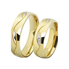 男性用 女性用 カップルリング バンドリング キュービックジルコニア 幸福 高級ジュエリー ステンレス鋼 ゴールドメッキ イミテーションダイヤモンド 円形 ジュエリー ジュエリー 用途 結婚式 日常