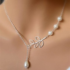 Women's Pendant Necklaces Pearl Necklace Leaf Pearl Alloy Unique Design Tassel Bridal Costume Jewelry European Jewelry For Wedding Party