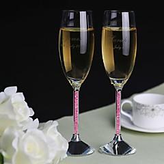 personlig ristet fløjter pink diamant skaft - sæt af 2 bryllup modtagelse