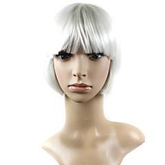 baratos Perucas Sintéticas-Perucas sintéticas Natural Straight Com Franjas Cabelo Sintético Branco Peruca Mulheres
