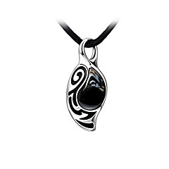 cheap Necklaces-Stainless Steel With Black Agate Stone Men's Necklace Elegant Style