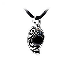 aço inoxidável com a colar dos homens de pedra ágata preta