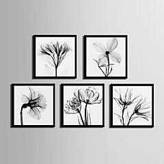 billige Innrammet kunst-Innrammet Lerret Innrammet Sett - Blomstret/Botanisk PVC Tegning