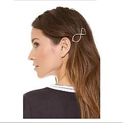 お買い得  ヘアジュエリー-女性のためのヴィンテージ番号8合金バレッタ(金色)(1個)をshixin®