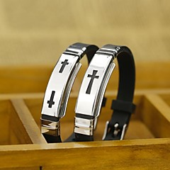 pulseira de silicone de aço inoxidável (uma cruz ou duas cruz)