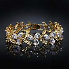 cheap Bracelets-Women's AAA Cubic Zirconia Cuff 18K Gold Plated Jewelry For Wedding Anniversary Engagement