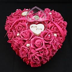 formato de coração flor rosa caixa do anel de pérola travesseiro para o casamento (26 * 26 * 13 centímetros) de casamento coral