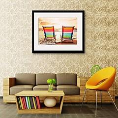 baratos Quadros com Moldura-Quadros Emoldurados Conjunto Emoldurado Paisagem Arte de Parede, PVC Material com frame Decoração para casa Arte Emoldurada Sala de Estar