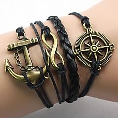 billiga -Herr Oändlighet Ankare Armband av Remmar - Inspirerande Europeisk Oändlighet Ankare Guld/Svart Armband Till Julklappar Party Dagligen