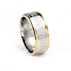 Z&X®  8mm Width Two Tone The Great Wall Pattern Titanium Steel Men's Band Ring Gifts