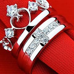 Ring Men's / Couples' / Ladies' / Women Rhinestone Sterling Silver Sterling Silver 7 Silver