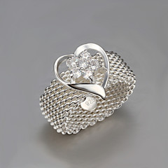 2016 Fashion Luxury Mesh Creative heart Love Sterling Silver Band Ring For Women