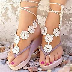billiga Brudskor-Metall Barefoot Sandals Dam Bröllop Semester Svart Vit Brun