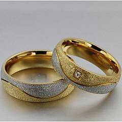 ieftine -Pentru femei Inele Cuplu / Inel de declarație - Oțel titan, Diamante Artificiale Iubire 5 / 6 / 7 Auriu / Alb Pentru Nuntă / Petrecere / Zilnic