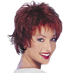 cheap Wigs & Hair Pieces-Synthetic Wig Women's Straight / Curly / Natural Wave Red Layered Haircut Synthetic Hair 14 inch Natural Hairline Red Wig Short Capless Red Wine