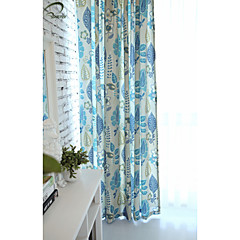land curtains® et panel blå blomster print gardin