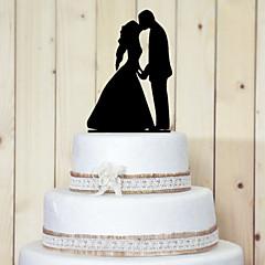 Figurky na svatební dort Nepřizpůsobeno Klasický pár Akryl Svatba / Výročí / Párty pro nevěstu Černá Zahradní motiv 1 OPP