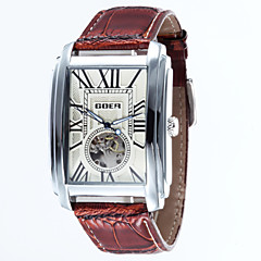 お買い得  レディース腕時計-男性 スケルトン腕時計 機械式時計 耐水 自動巻き レザー バンド ラグジュアリー ブラック ブラウン