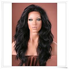billiga Peruker och hårförlängning-Syntetiska peruker Naturligt vågigt Syntetiskt hår Peruk Spetsfront Svart Mörkbrun Mellanbrun