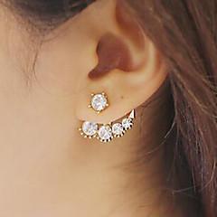 Boucles d'oreille goutte Perle Imitation de perle Zircon Imitation de diamant Alliage Or Bijoux 2pcs