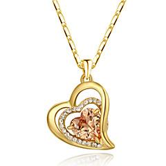 Naisten Riipus-kaulakorut Kristalli Heart Shape jäljitelmä Diamond Metalliseos Love Heart Oranssi Punainen Korut Varten