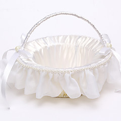 "cheap Wedding Ceremony-Flower Basket Satin Rattan 8 3/5"" (22 cm) Faux Pearl Ribbons Rattan 1"
