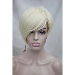 cheap Wigs & Hair Pieces-Synthetic Wig Women's Straight Blonde Asymmetrical / With Bangs Synthetic Hair Side Part Blonde Wig Short Capless Bleach Blonde