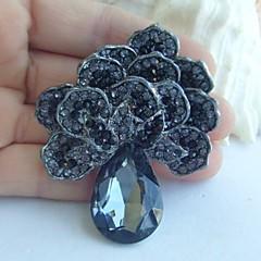 kvinner tilbehør sort grå Rhinestone krystall blomst brosje art deco krystall brosje bukett kvinner smykker