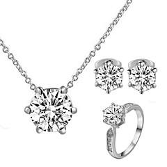 baratos Conjuntos de Bijuteria-Mulheres Cristal Conjunto de jóias - Cristal, Zircônia Cubica, Imitações de Diamante Clássico Incluir Conjuntos de anéis Para Casamento Festa Diário
