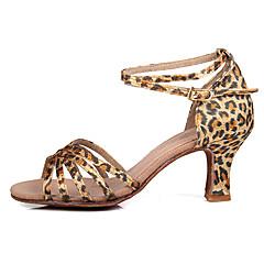 Mulheres Sapatos de Dança Latina / Dança de Salão / Sapatos de Salsa Cetim / Seda Salto Alto / Sandália Presilha Salto Personalizado