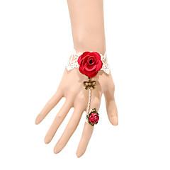 billige -vintage røde roser bowknot armbånd med ring klassisk feminin stil