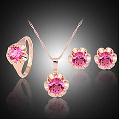baratos Conjuntos de Bijuteria-Mulheres Conjunto de jóias Conjunto de Jóias - Zircão, Zircônia Cubica, Imitações de Diamante Fúcsia