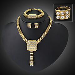 Jewelry Set Vintage Party Work Casual Link/Chain Statement Jewelry Party Gemstone & Crystal Cubic Zirconia Alloy Bracelet Necklace