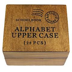 26 anglická abeceda +! +? vzor dřevo pečeť razítko