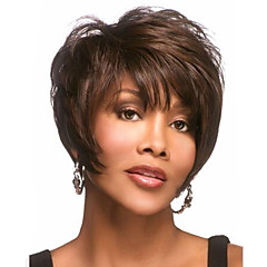 cheap Wigs & Hair Pieces-Synthetic Wig Wavy Pixie Cut With Bangs With Bangs Side Part Brown Women's Capless Carnival Wig Halloween Wig Short Synthetic Hair