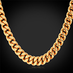 cheap Men's Necklaces-Men's Choker Necklace / Chain Necklace / Collar Necklace - Gold Plated Fashion Gold Necklace Jewelry For Wedding, Party, Daily, Casual