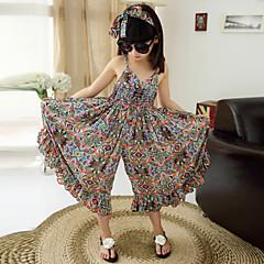 billige Jakker og frakker til piger-Pige Blomster Blomstret Uden ærmer Bomuld / Polyester Overall og jumpsuit Orange