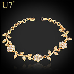 baratos -Mulheres Diamante sintético Amuleto Vintage Fofo Festa Trabalho Casual Estilo bonito Corrente Strass Pedaço de Platina Chapeado Dourado