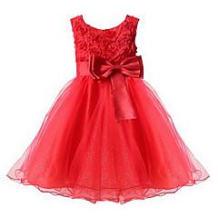 tanie Odzież dla dziewczynek-Brzdąc Dla dziewczynek Słodkie Impreza Kwiaty Łuk / Warstwy materiały Bez rękawów Sukienka