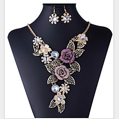 cheap Jewelry Sets-Jewelry Set - Rhinestone, Rose Gold Plated, Imitation Diamond Flower Luxury, Vintage, Party Include Rainbow For Party / Special Occasion / Anniversary / Earrings / Necklace