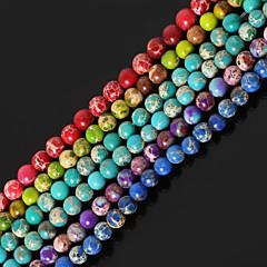 baratos Miçangas & Fabricação de Bijuterias-Jóias DIY Pedra Roxo Vermelho Verde Azul Verde Claro Forma redonda Bead faça você mesmo Colar Pulseiras