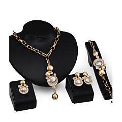baratos Conjuntos de Bijuteria-Mulheres Conjunto de jóias Conjunto de Jóias - Zircônia Cubica, Banhado a Ouro 18K Dourado