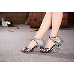 cheap Dancewear & Dance Shoes-Women's Latin Shoes Sparkling Glitter / Paillette / Synthetic Sandal Sequin / Buckle / Ribbon Tie Cuban Heel Non Customizable Dance Shoes