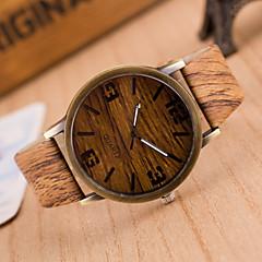 Herrn Armbanduhr Uhr Holz Quartz PU Band Grau Khaki