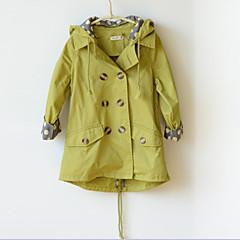 billige Jakker og frakker til piger-Børn Pige Pænt tøj Ensfarvet Langærmet Normal Trenchcoat Grøn 110