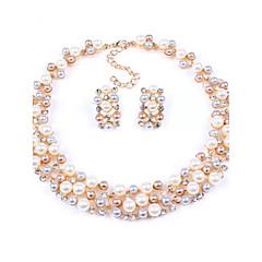 cheap -Women's New Hot European Style Fashion Imitation Pearl Bridal Choker Necklace Earrings Set