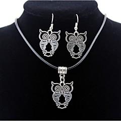 baratos Conjuntos de Bijuteria-Homens / Mulheres Conjunto de jóias - Coruja Incluir Prata Para Diário / Casual / Brincos / Colares