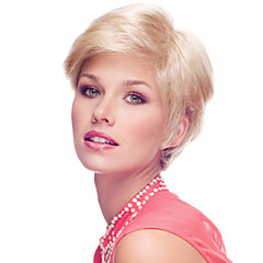 cheap Wigs & Hair Pieces-Delicate Short Straight Human Virgin Remy Hand Tied Top Capless Lady Hair Wig