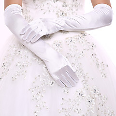 White Opera Length Fingertips Glove Spandex  Bride Gloves with DIY Pearls and Rhinestones